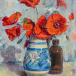 Red Poppies in Decorated Vase