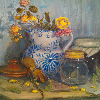 Decorated Vase with Yellow Flowers