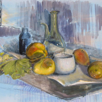 Fruit and bottles still life