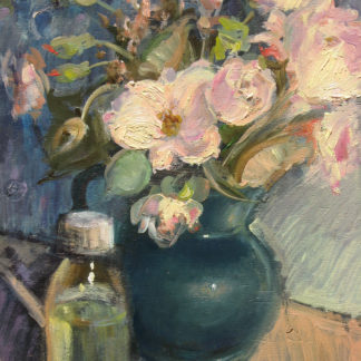 Dark Vase with Pink Flowers and Bottle