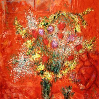 Marc Chagall Flowers with a red background